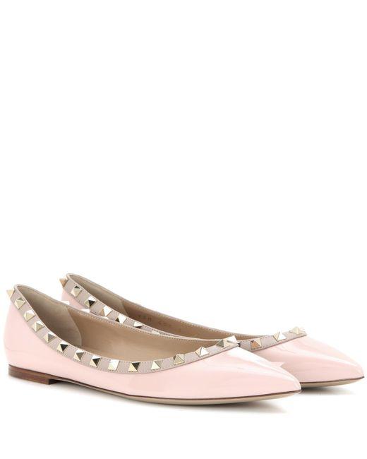 Valentino - Pink Garavani Rockstud Patent Leather Ballerinas - Lyst