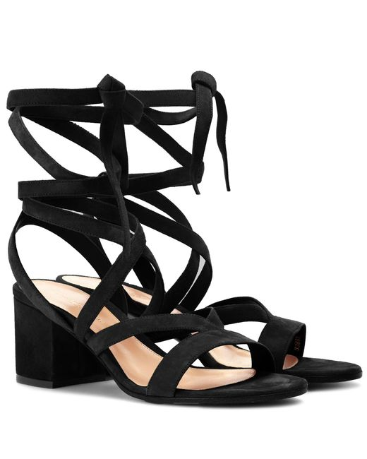 Gianvito Rossi - Black Janis Low Suede Sandals - Lyst