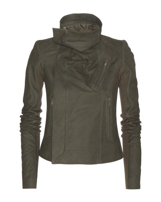Rick Owens | Green Brushed Leather Biker Jacket | Lyst