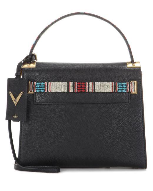 Valentino | Black Garavani My Rockstud Embellished Leather Shoulder Bag | Lyst