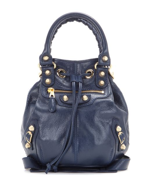 Balenciaga | Gray Giant Mini Pompon Leather Shoulder Bag | Lyst