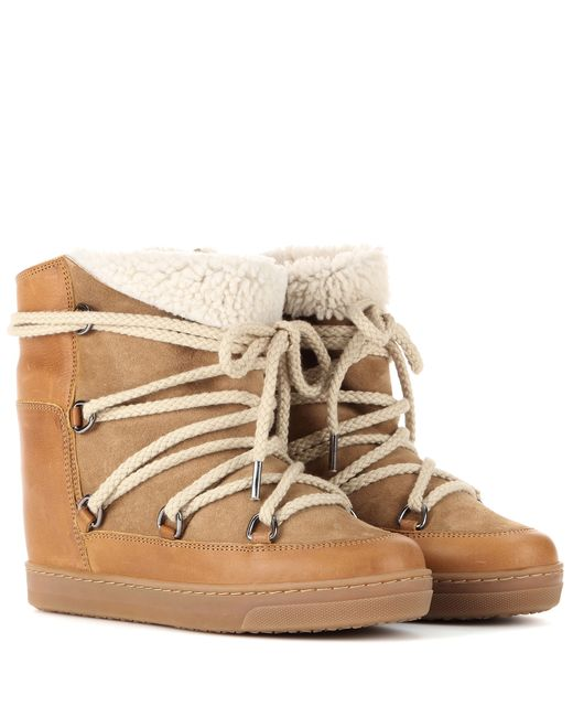 Isabel Marant | Brown Camel Shearling Nowles Boots | Lyst