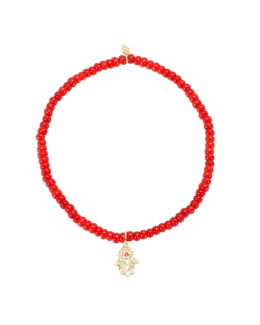 Sydney Evan | Pink Baby Hamsa Beaded Bracelet With 14kt Yellow Gold Charm, Diamonds And A Ruby | Lyst