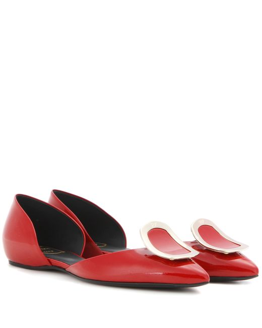 Roger Vivier   Red Chips Patent Leather Ballerinas   Lyst