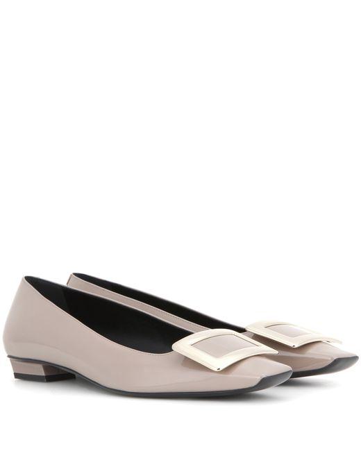 Roger Vivier | Gray Patent Leather Ballet Flats | Lyst