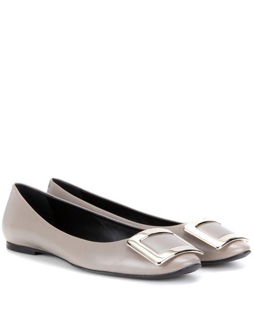 Roger Vivier | Gray Belle Vivier Leather Ballerinas | Lyst