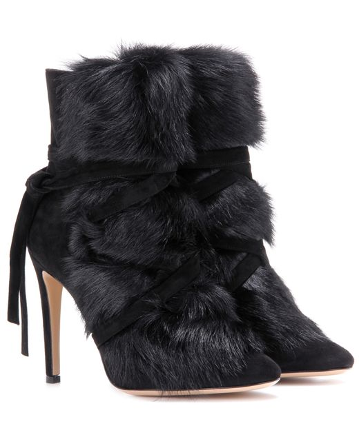 Gianvito Rossi | Black Flat Fur Ankle Boot | Lyst