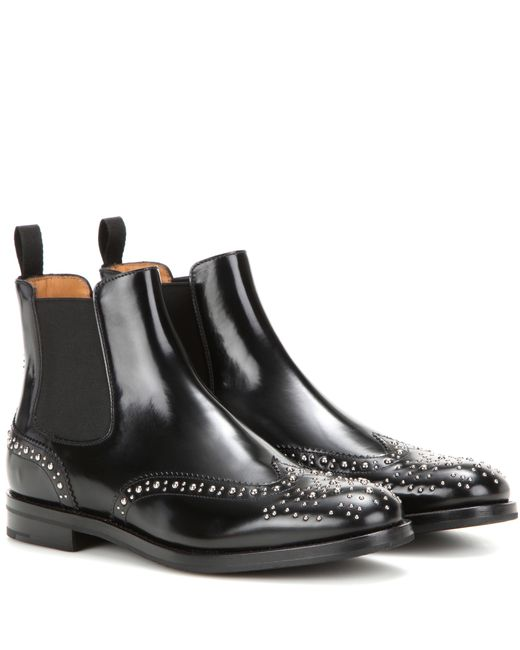 church 39 s ketsby stud embellished leather ankle boots in. Black Bedroom Furniture Sets. Home Design Ideas