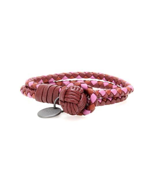 Bottega Veneta | Red Knot Intrecciato Leather Bracelet | Lyst