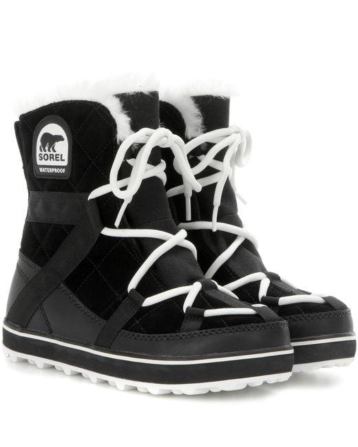 Sorel   Black Glacy Explorer Shortie Suede Boots   Lyst