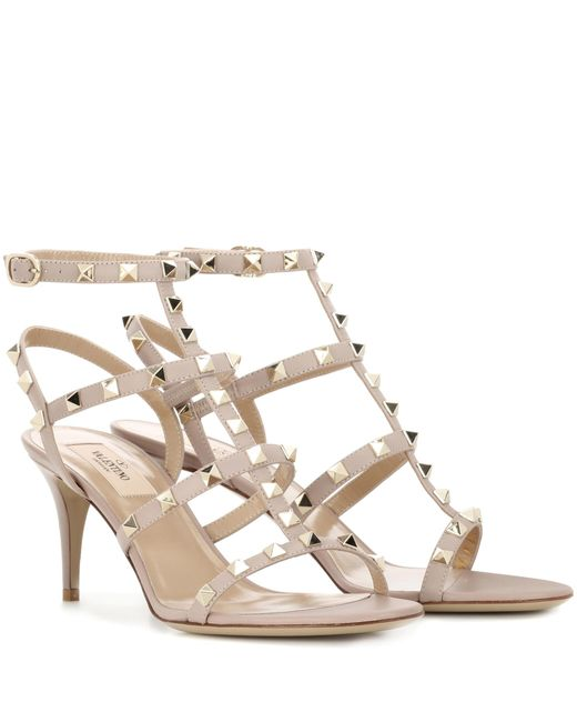 Valentino   Gray Garavani Rockstud Leather Sandals   Lyst