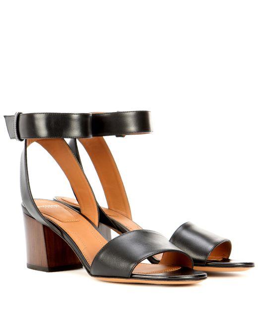 Givenchy | Black Paris Leather Sandals | Lyst