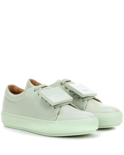 Acne | Green Adriana Turnup Leather Sneakers | Lyst
