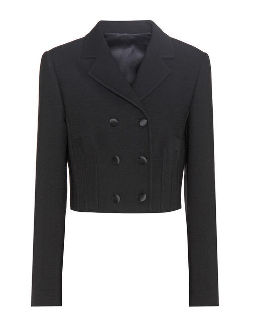 Dolce & Gabbana | Black Virgin Wool-blend Cropped Jacket | Lyst