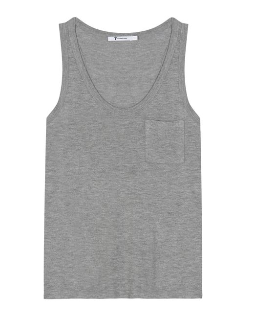 T By Alexander Wang   Gray Jersey Top   Lyst