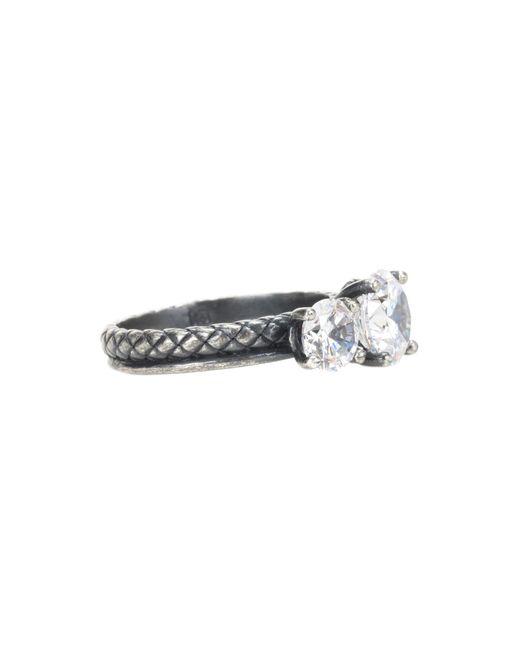 Bottega Veneta | Metallic Zirconia-embellished Silver Ring | Lyst