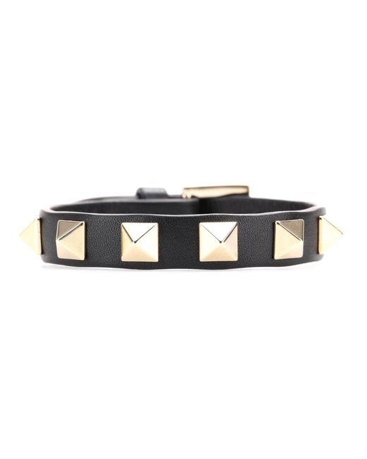 Valentino | Black Garavani Rockstud Leather Bracelet | Lyst