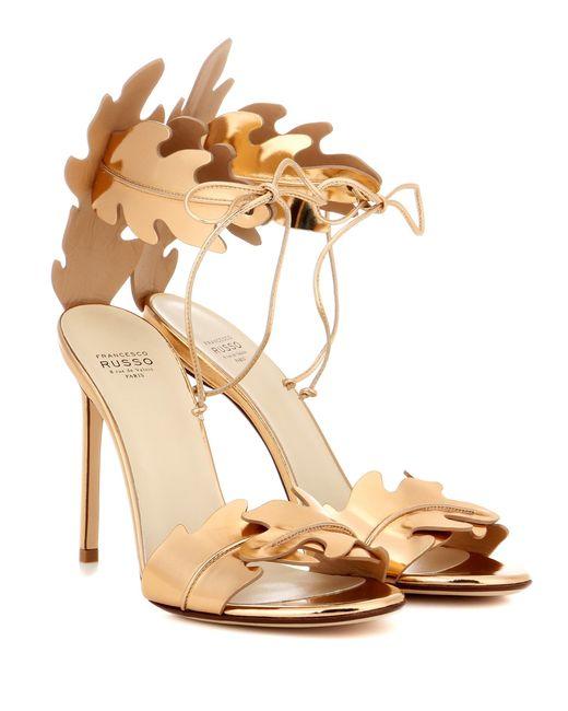 Francesco Russo   Metallic Leather Sandals   Lyst