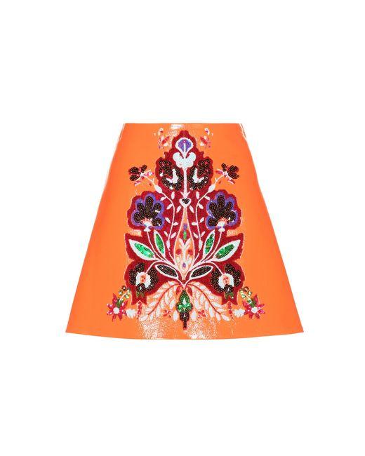 Miu Miu | Orange Embellished Faux Leather Skirt | Lyst