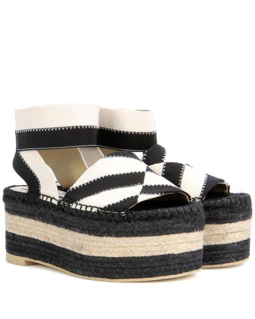 Stella McCartney | Black Striped Espadrille Platform Sandals | Lyst