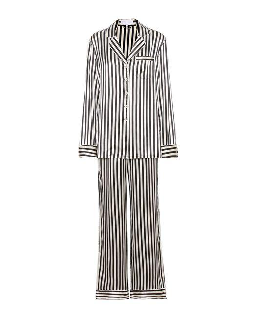 Olivia Von Halle | Black Lila Nika Striped Silk-satin Pyjamas | Lyst