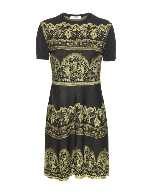 Valentino   Green Jacquard Dress   Lyst