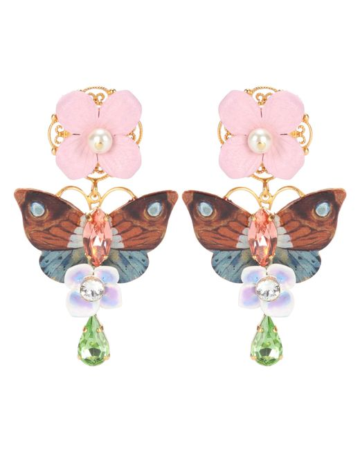 Dolce & Gabbana | Multicolor Crystal And Leather-embellished Clip-on Earrings | Lyst