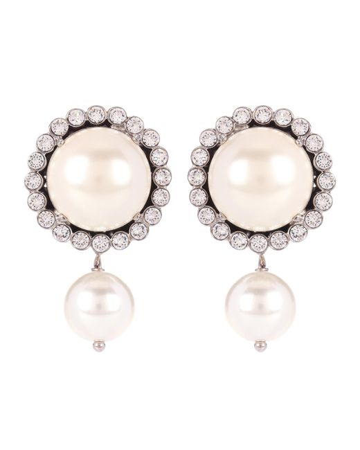 Miu Miu | White Embellished Faux-pearl Earrings | Lyst