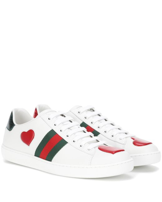 Gucci | White Snakeskin-trimmed Leather Sneakers | Lyst