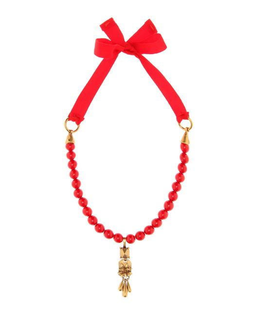Valentino | Red Beaded Necklace | Lyst