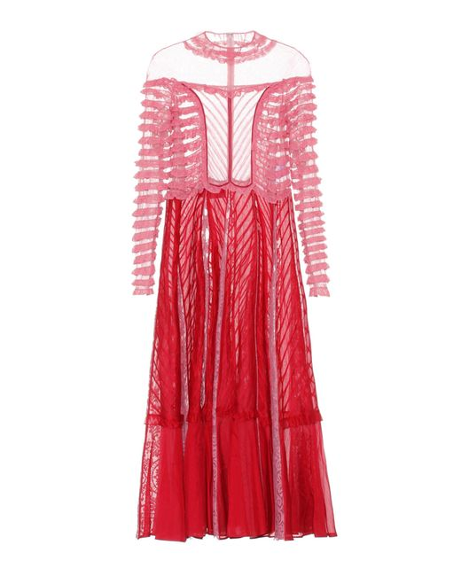 Valentino | Red Lace-paneled Dress | Lyst