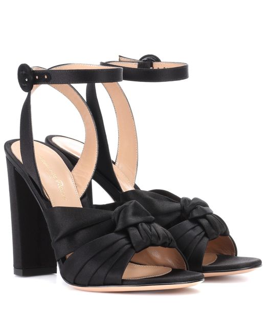Gianvito Rossi - Black Satin Sandals - Lyst
