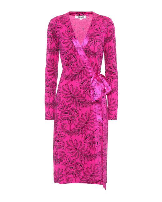Diane von Furstenberg - Pink Printed Silk Dress - Lyst