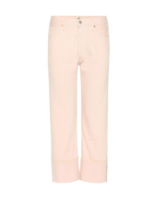 Citizens of Humanity - Pink Parker Relaxed Cuffed Crop Jeans - Lyst