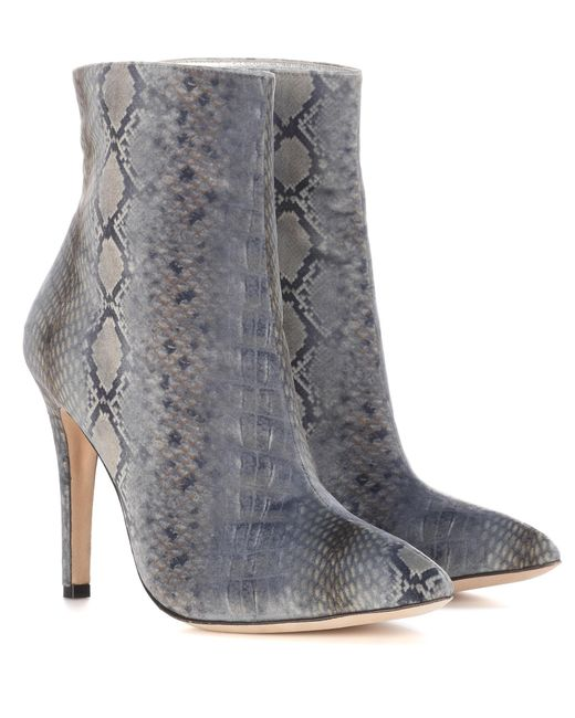 AlexaChung - Gray Snakeskin-printed Velvet Ankle Boots - Lyst