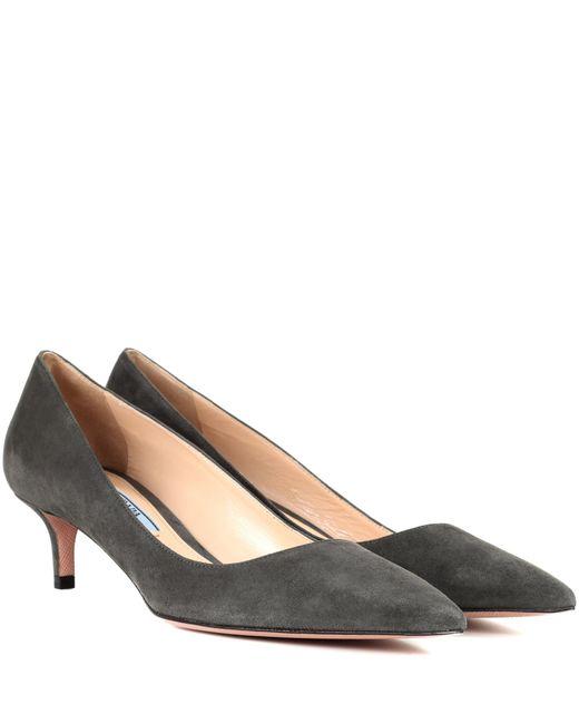 Prada | Gray Suede Kitten-heel Pumps | Lyst