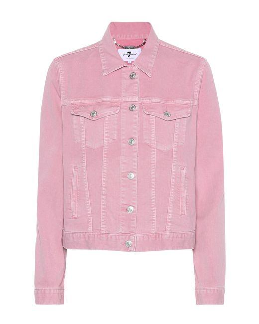 7 For All Mankind - Pink Modern Trucker Denim Jacket - Lyst