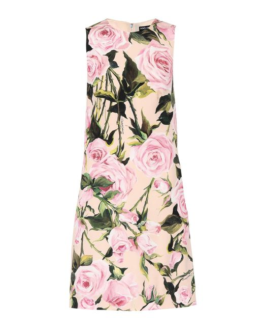 Dolce & Gabbana - Pink Floral Stretch Silk Dress - Lyst