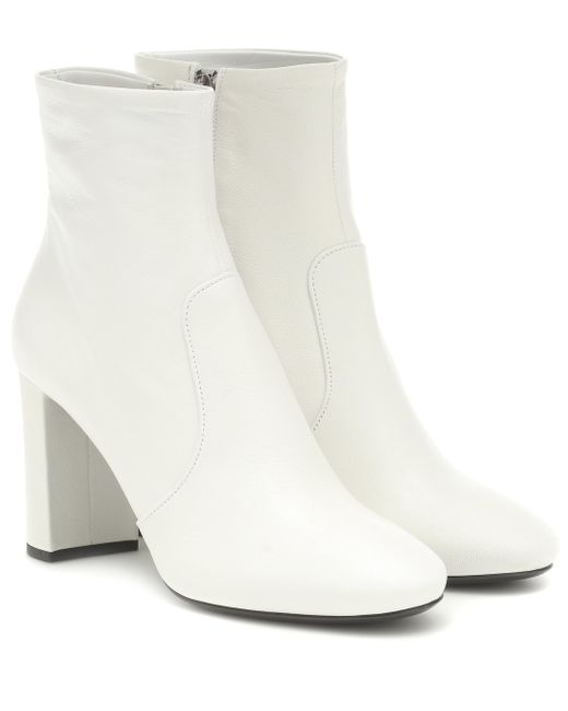 Prada White Leather Ankle Boots