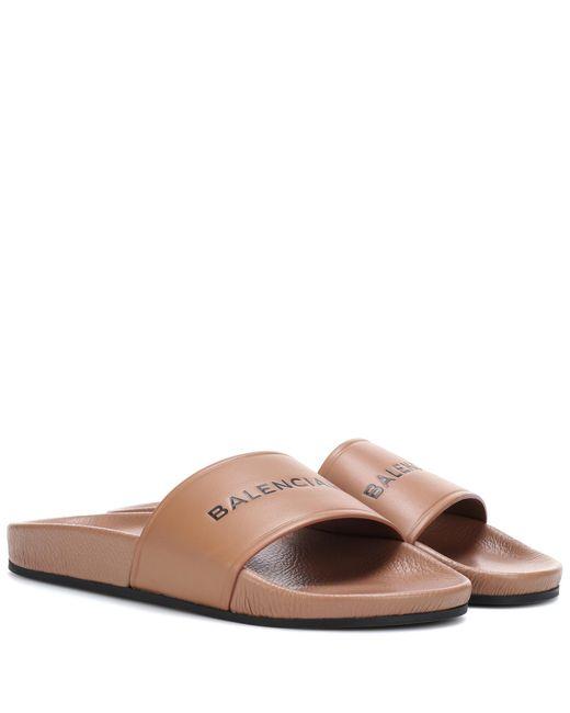 Balenciaga - Brown Leather Slides - Lyst