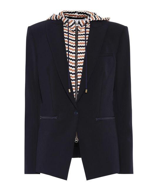 Veronica Beard - Blue Scuba Jacket With Detachable Dickey - Lyst