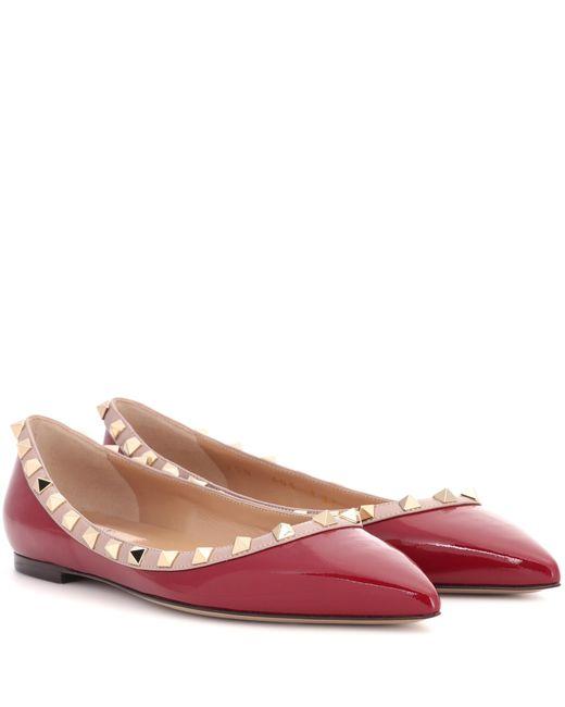Valentino   Red Garavani Rockstud Leather Ballerinas   Lyst