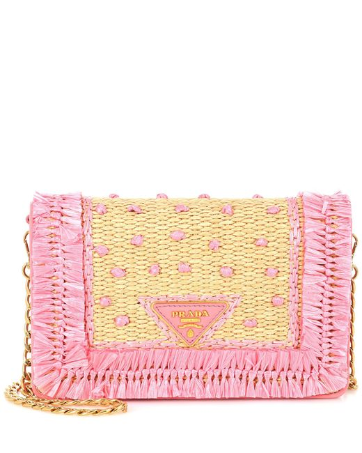 Prada - Pink Leather And Raffia Shoulder Bag - Lyst