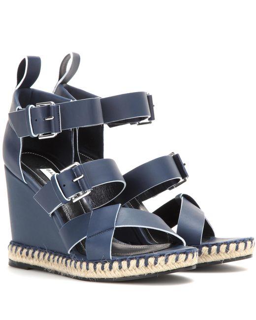 Balenciaga   Blue Leather Wedge Sandals   Lyst