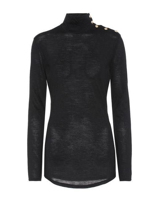 Balmain   Black Embellished Wool Turtleneck Sweater   Lyst