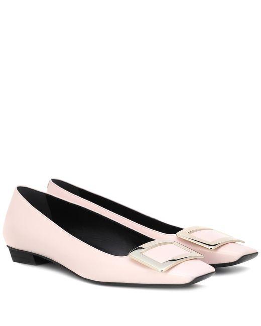 Roger Vivier - Pink Belle Vivier Leather Ballet Flats - Lyst