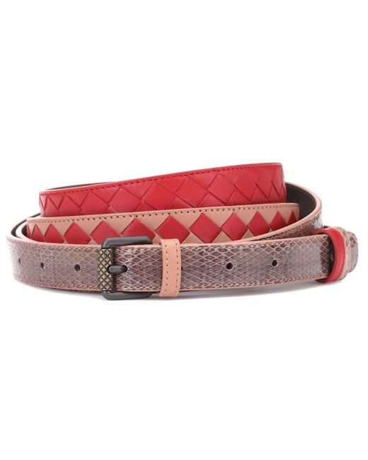 Bottega Veneta - Red Intrecciato Snakeskin-trimmed Belt - Lyst