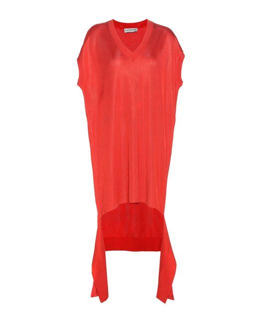 Balenciaga - Red Piqué Dress - Lyst
