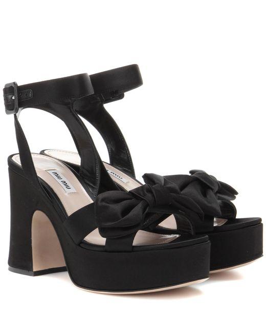 Miu Miu | Black Platform Satin Sandals | Lyst