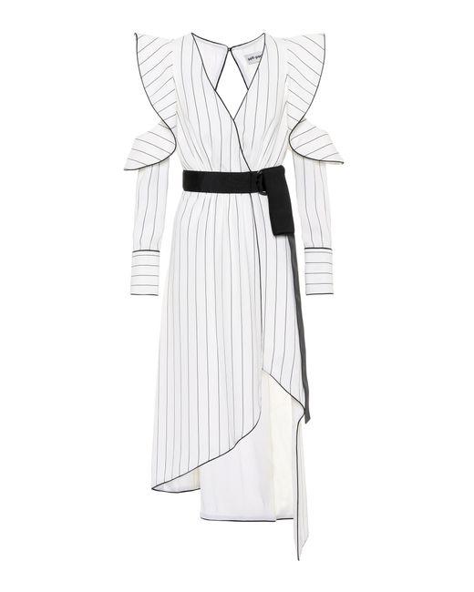 Self-Portrait - White Monochrome Asymmetric Crêpe Dress - Lyst